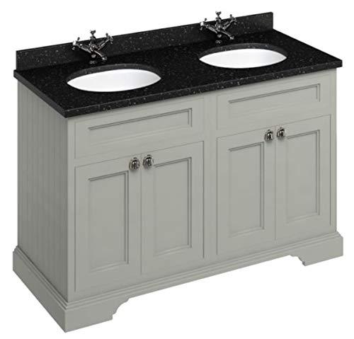 Casa Padrino Doppel Waschschrank/Waschtisch mit Granitplatte und 4 Türen - Hotel Möbel, Farbe Badmöbel:dunkeloliv