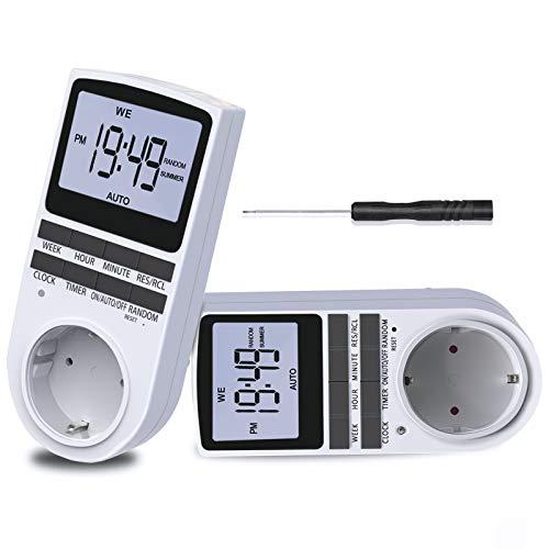 BMK Zeitschaltuhr, Zeitschaltuhr Digital Elektrische Steckdose 10 Programmierbarer EIN-AUS Timer Schalter mit Reset-Tool, LCD-Display, RANDOM-Diebstahlsicherung für Licht Ventilator usw. (1pcs) (2pcs)