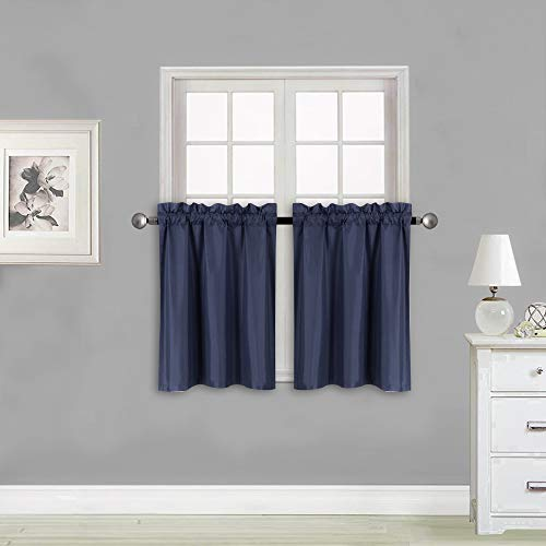 """Elegant Home 2 Panels Tiers Small Window Treatment Curtain Insulated Blackout Drape Short Panel 30"""" W X 24"""" L Each for Kitchen Bathroom or Any Small Window # R16 (Navy Blue)"""
