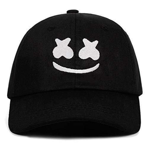 ZHANGCHI Baseball Kappe Baseballmütze Aus 100% Baumwolle Stickerei Dad Hat American Dj Chris Mützen Smiley Gesicht,Schwarz