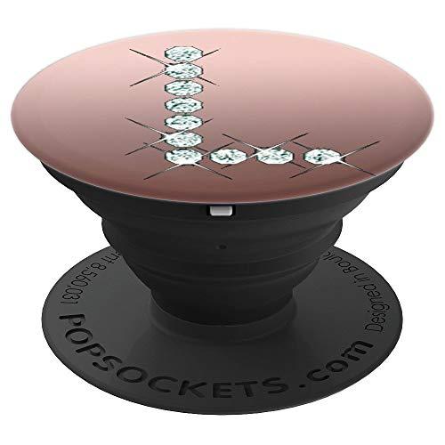 L Popsocket Rose Gold - Diamond Image Pop Socket - Letter L PopSockets Grip and Stand for Phones and Tablets