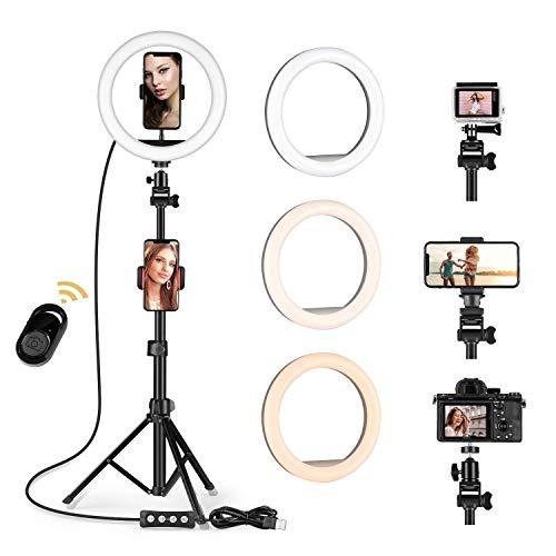 10 '' Ring light Selfie LED Luz del Anillo con trípode ajustable - Luz de anillo de cámara regulable mejorada con 3 soportes para teléfono TikTok/Maquillaje/Fotografía Compatible con iPhone An