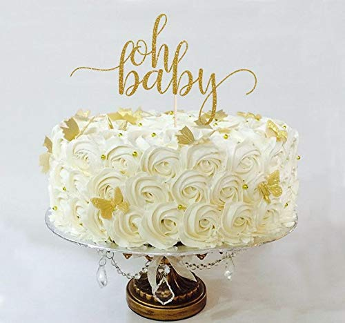 Oh Baby Cake Topper, Cake Decoration, Glitter, Party, Custom, Gold, Silver, Baby Shower Decoration, Newborn, Birthday, Gender Reveal