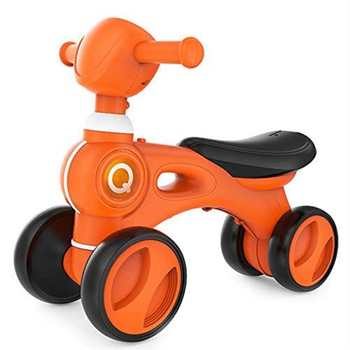 Zengqhui Toy Roll Push et Pull Équilibre bébé Portable Étapes vélo Walker Jouets Manèges avec Musique légère et Mute Wheels Enfant en Bas âge éducatif (Couleur : Orange, Taille : 53.2x27.2x23cm)