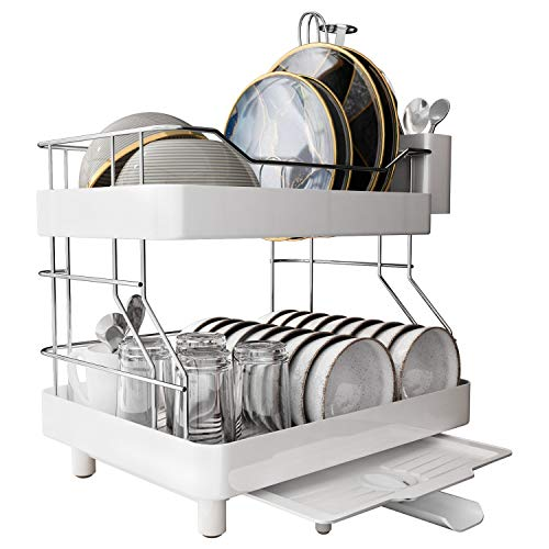 MAJALiS Dish Drying Rack 2 Tier Stainless Steel Rustproof Dish Rack Drainer Large Capacity Sink Side Dish Rack with Removable Utensil Holder amp Adjustable Drain Spout Suitable for Large Family