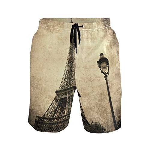 DEZIRO Intage Image van Eiffeltoren Parijs Frankrijk Zwembroek voor heren Beach Pants Quick Dry