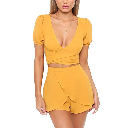 Wyxogncuw Womens Sexy Due Pezzi Set Wrap V Neck Manica Corta Crop Top + Shorts Summer Outfit (Color : Yellow, Size : S)