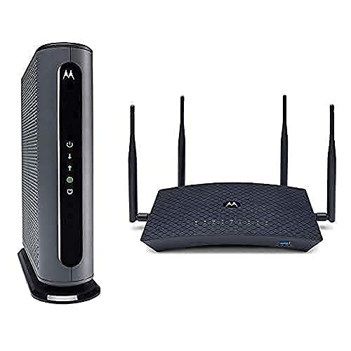 Motorola MB8600 Cable Modem + AC2600 Smart Wi-Fi Router with Extended Range | Top Tier Internet Speeds | Approved for Comcast Xfinity, Cox, and More – Separate Modem and Router Bundle