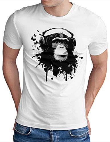 OM3® DJ-APE T-Shirt   Herren   Deejay Monkey Turntables Headphones Music Chimpanzee   Weiß, XL