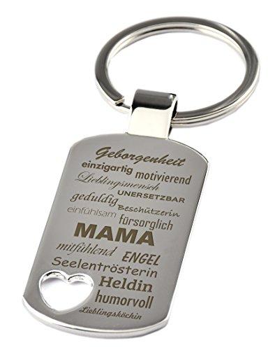 """Schlüsselanhänger mit Herzauschnitt und Gravur""""Eigenschaften einer Mama"""" - Chrom - Geschenk - Mutter - Mama - Muttertag oder als Geschenk zu Weihnachten …"""
