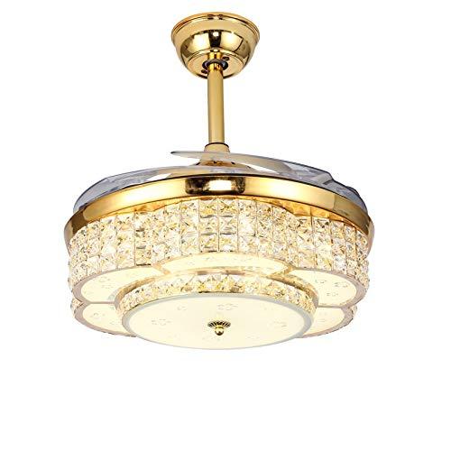 HEMFV Luz del ventilador de techo Lámparas de cristal Europea Ventilador de techo Juego de luces -42 pulgadas con cuchillas retráctil y silencioso remoto de control del ventilador de la lámpara por es