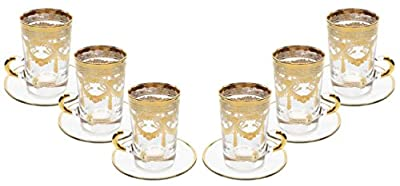 Italian Collection Set of 6 Crystal 6 Oz Turkish Tea Glasses, 24K Gold Rim, Vintage Luxury Pattern