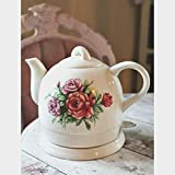 Cordless Electric Kettle Ceramic Country Rose Design Classic Vintage Tea Pot