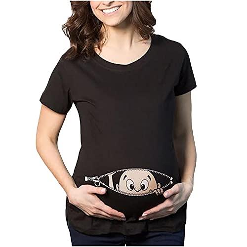 Witzige süße Umstandsmode T-Shirt mit Motiv Schwangerschaft Geschenk - Kurzarm T-Shirts Oberteile Kurzarm Damen Kurzarm Tee Tops für Schwangere(Schwarz,M)