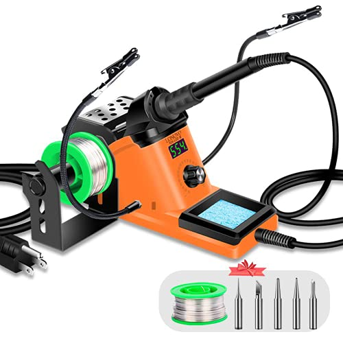 Soldering Station – 60W Soldering Iron Station Kit 90°C-480°C Adjustable Temperature, LED Display, Sleep Function, C F Switch, 2 Helping Hands, 5 Extra Solder Tips & 1 Solder Wire