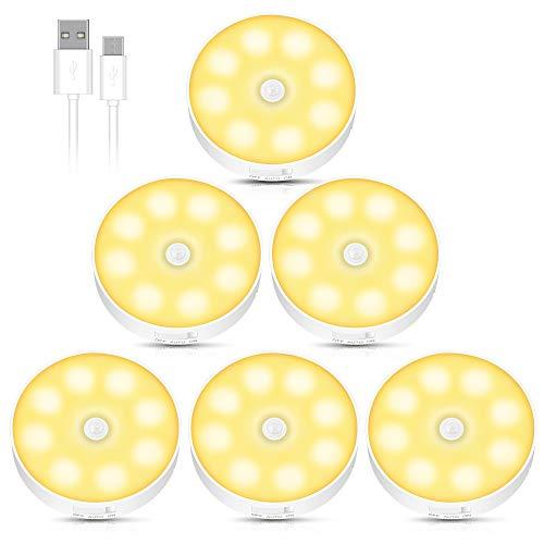Luces de Noche de Sensor de Movimiento, Luces Nocturnas con Almohadillas Adhesivas e Imán Recargable USB, Auto En/Apagado, Luz Led Armario, para Habitación de Bebé, Pasillo, Escaleras, Sótano (6PCS)