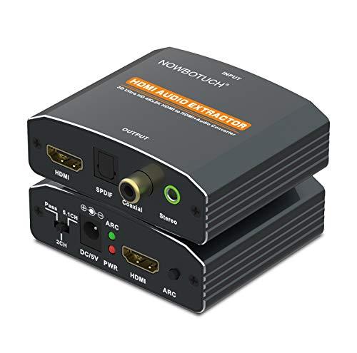 NOWBOTUCH HDMI Audio Extractor 4K ARC HDMI zu HDMI + Optischer Toslink SPDIF + Koaxial + 3,5 mm Stereo Audio mit Cinch L/R Stereo Analog Audio Kabel HDMI Extractor Konverter Audio Splitter Adapter