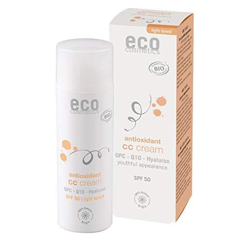 eco cosmetics Bio CC Cream, Tagescreme getönt mit OPC, Q10 und Hyaluronsäure, vegane Anti Faltencreme, LSF 50, 1x 50ml (hell)