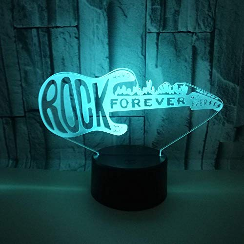3D gitaar nachtlampje USB aangedreven kleurrijke touchable afstandsbediening LED Vision licht geschenk sfeerdecoratie kleine tafellamp