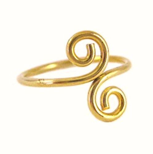 Toe Ring | Gold Toe Ring | California Toe Rings 14k Gold Filled Double Swirl Midi Above The Knuckle Adjustable Toe Ring One Size Fits All Most
