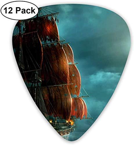 Guitar Picks Nautisches Vintage Segelpiratenschiff Premium Celluloid Picks12 Pack enthält dünne, mittlere und schwere, extra schwere Messgeräte
