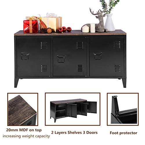 Preisvergleich Produktbild HOMYCASA Metall-Aufbewahrungsschrank mit 2 Ebenen,  3 Türen,  Büromöbel,  niedriges Schrank,  MDF-Platte Oben,  120 × 40 × 60 cm Schwarz