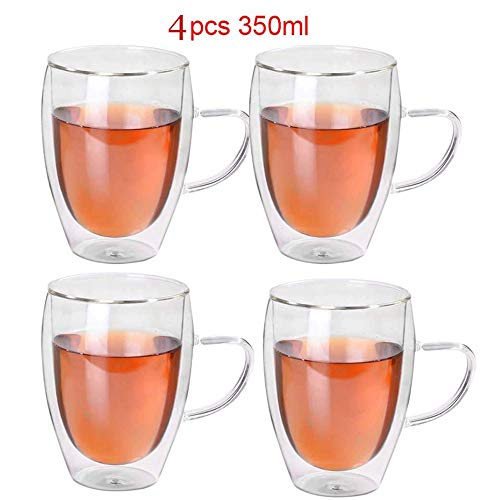Geïsoleerde dubbelwandige glazen, hittebestendige koffieglazen, koffiekop met handvat voor latte, cappuccino, thee, melk, bier, sap, 350 ml (transparant),350ml,4PCS