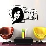 Tianpengyuanshuai Salón de Belleza Logo Etiqueta de la Pared Vinilo removible peluquería Etiqueta de la Pared salón Decorativo de la Pared 63X43cm