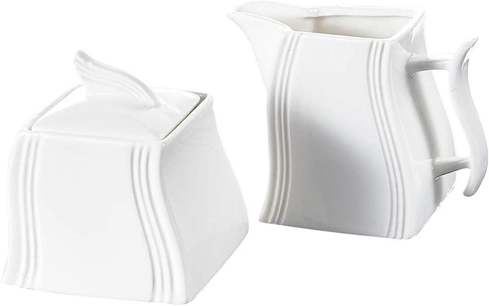 UXZDX CUJUX White Porcelain Creamer and Sugar Pot Set for Coffee
