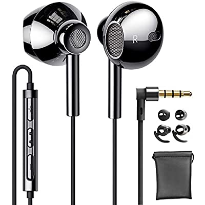Linklike Quad Dynamic Drivers Air-flow Hi-Res Extra Bass Headphones Noise Isolating Wired Earbuds with Microphone, Lightweight Earphones with Volume Control 3.5mm Jack In-Ear Headphones (Bright Black) from Linklike