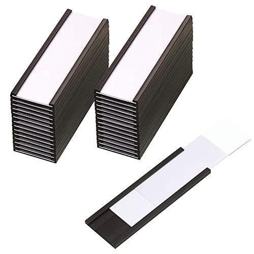 MMMM 30 Soportes MagnéTicos para Etiquetas con Soportes MagnéTicos para Tarjetas de Datos con Protectores de PláStico Transparente para Estantes de Metal (1 X 3 Pulgadas)