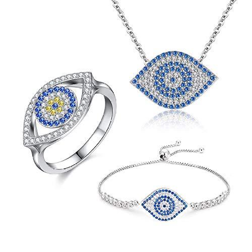Evil Eye collar dragón camarón forma 925 pulseras de plata de ley para mujeres moda azul Zircon anillo joyería conjuntos de joyas