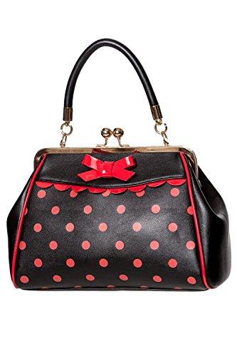 Banned Crazy Little Thing Vintage Bag 50er Jahre Rockabilly Polka Top Henkel Handtasche - Schwarz & Rot
