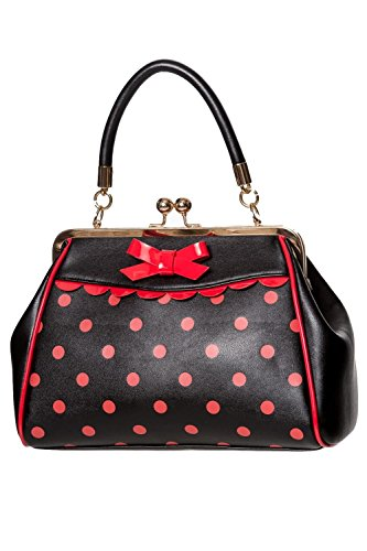 Banned Crazy Little Thing Vintage Bag 50er Jahre Rockabilly Polka Top Henkel Handtasche - Schwarz & Rot