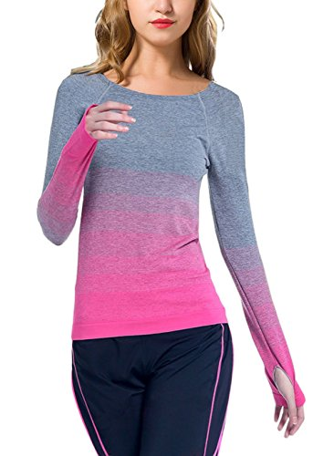 IVVIC Yoga sports gradient color long sleeves Slim outdoor T-Shirt Fitness Tops (M,RoseRed)