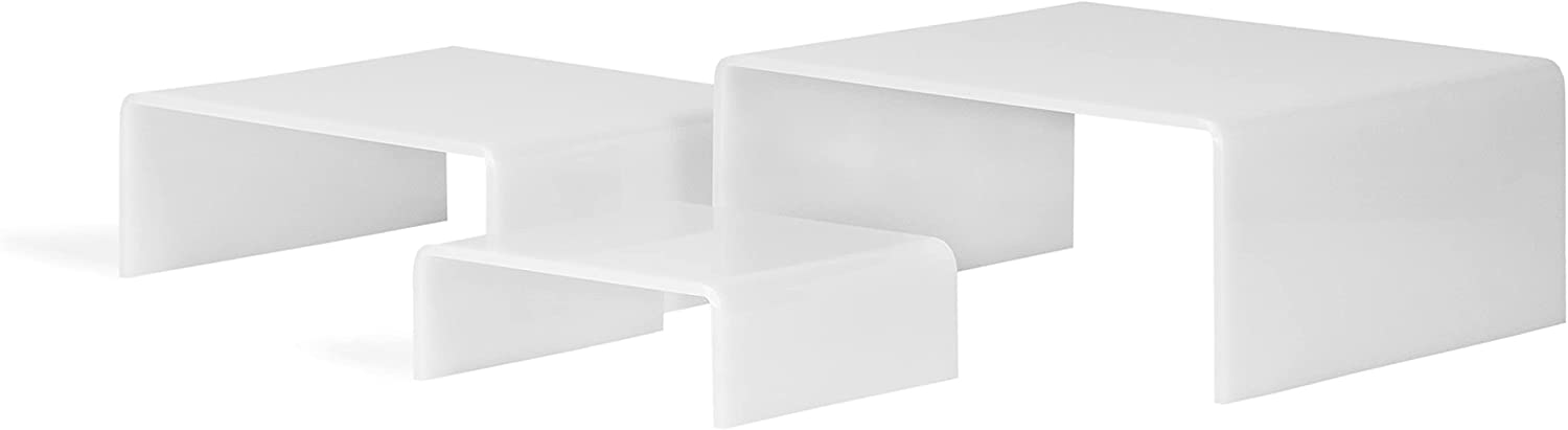 Max 84% OFF Set Max 84% OFF of 3 Glossy White Low Acrylic Jewelr Riser - Display Profile