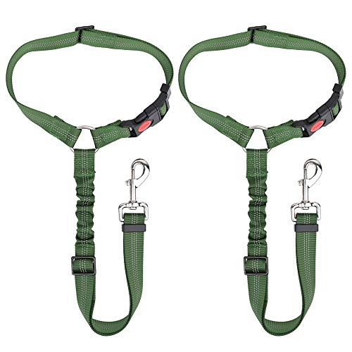 SlowTon Dog Seatbelt, 2 Pack Pet Car Seatbelt Headrest Restraint Adjustable Puppy Safety Seat Belt Reflective Elastic Bungee Connect Dog Harness in Vehicle Travel Daily Use (Green)