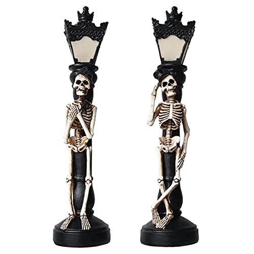 A/A The Dragon Good Halloween brillante miniatura esqueleto lámpara de calle decoraciones para fiesta espeluznante retro cráneo luz