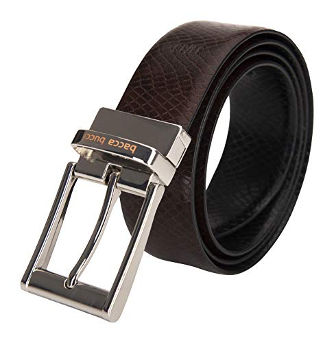 Bacca Bucci® Men's Reversible Classic Dress Belt Italian Top Grain Genuine Leather Black & Brown with Rotating Metal...