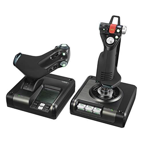 Logitech G Saitek X52 Pro Flight Control System, Schubregler und Stick-Simulationscontroller für Weltraum-Simulationen, LCD-Display, Doppelfederung, Beleuchtete Tasten, 2x USB-Anschluss, PC, Schwarz