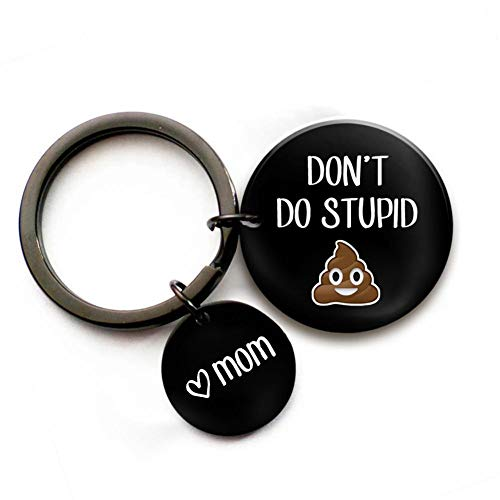 LiFashion Personalised Don't Do Stupid Shit Keychain,Stainless Steel Black Keyring for Son Daughter Kids from Dad Mom Funny Sarcasm Gift for Families,Free Engraving Custom