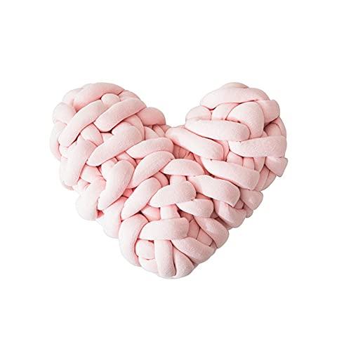Taloit Cojín en forma de corazón hecho a mano tejido nudo cojín en forma de corazón Macaron color decoración hogar