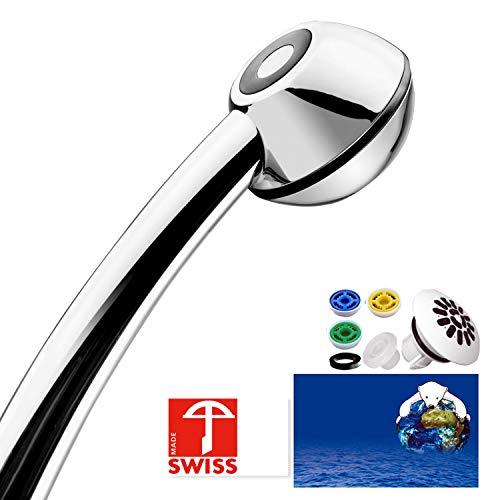 Duschkopf SwissClima BLACK TOP! Kräftig für mehr Druck, zB Durchlauferhitzer und weniger Wasser: verkalkungsfreie Handbrause, Regenstrahl-Aufsatz, 3 Reduzierer, SwissMade