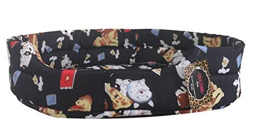 Ducomi Fufy - Lettino per Cani e Gatti in Oxford - Morbida Cuccia per Animali Domestici - Facile da Lavare (S, Navy Dogs)