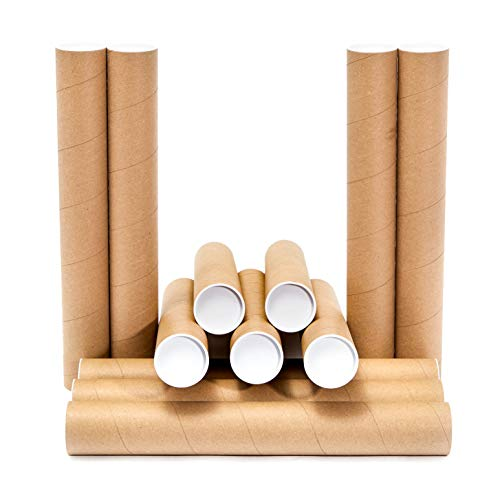Juvale Mailing Shipping Tubes with Caps (12 Pack) 2 x 16 Inches, Brown, Kraft
