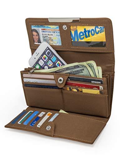 Mundi File Master Womens RFID Blocking Wallet Clutch Organizer With Change Pocket (One Size, (Brown Sugar))