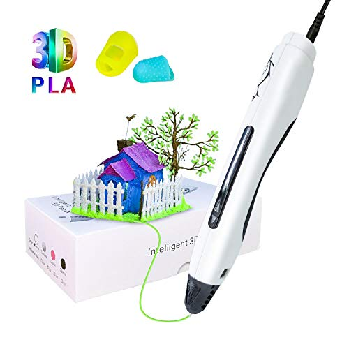 3D Pen, 3D Printing Drawing Pen with PLA Filaments, Support One Key Operation and USB Charging 3D Printing Craft Pen Best for DIY, Adult, Kids Toy & Gift, White