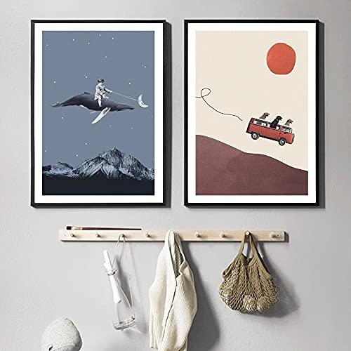 płótno sztuka ścienna 2 sztuki 19,7 x 27,6 cala (50 x 70 cm) bez ramki nordycka kreskówka trzy psy przygoda gang idź księżyc dekoracja domu obraz ścienny do sypialni dziecięcej