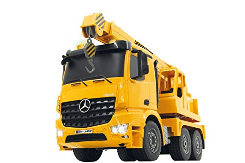 RC LKW kaufen LKW Bild 1: Jamara 404950 - Schwerlastkran Mercedes Arocs 1:20 2,4G – drehbarer und ausfahrbarer Kran, Seil heben / senken, realistischer Motorsound, Hupe, Rückfahrwarnsound, 4 Radantrieb,gelbe LED Signallichter*