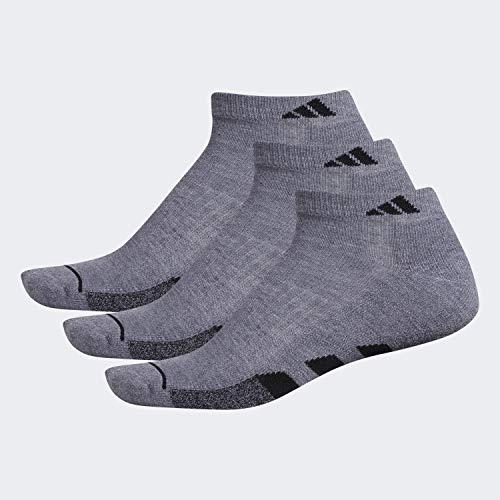 adidas Calcetines de corte bajo acolchados para hombre (paquete de 3), Hombre, Calcetines, 104455, Gris jaspeado/Gris jaspeado – Negro Marla/Negro, L